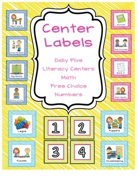 Center Labels - Daily Five, Literacy, Math, Free Choice