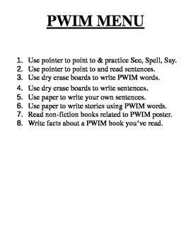 Center Menus for PWIM and Word Wall for Daily Five