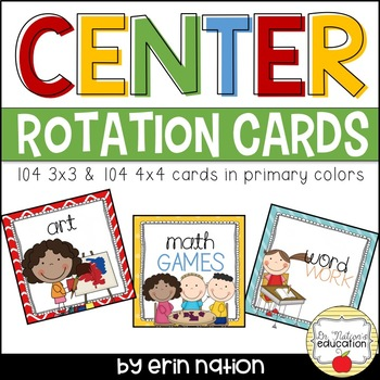 Center Rotation Cards {Primary Colors}
