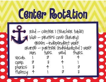 Pirate/Nautical Themed Center Rotation Chart