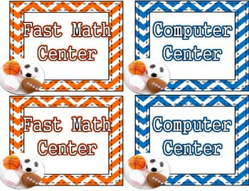 Sports Theme - Center Rotations for Reading and Math