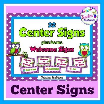 Center Signs: Purple Polka Dot
