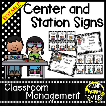 Center/Station Signs (BW Polka Dot) ~ EDITABLE