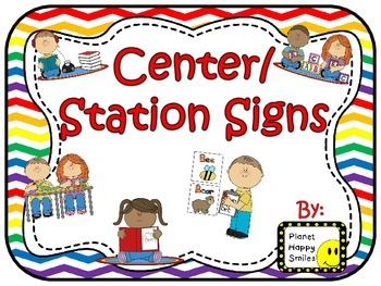 Center Signs ~ Station Signs (Rainbow and White Chevron)