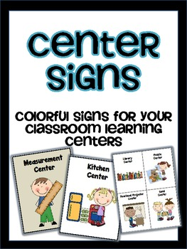 Center Signs: colorful signs for your classroom learning centers
