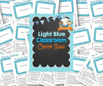 Center Signs for Pre-K and Preschool ~ Light Blue