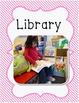 Center Signs for preschool classroom pink stripe border