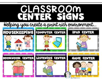 """14 """"Center Signs"""" for the  {Primary} Classroom!"""