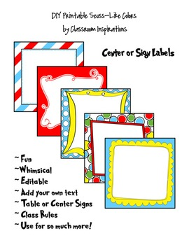 Center / Table Signs – Coordinates with Seuss-like Colors