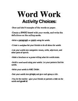 """Center """"Word Work"""" Ideas"""