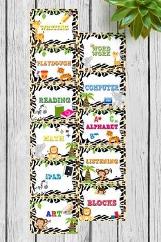 Center Workstation Jungle Theme Sign Printables Safari animals
