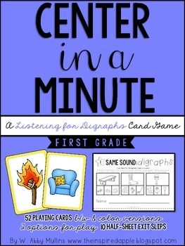 Center in a Minute {First Grade}: A Listening for Digraphs