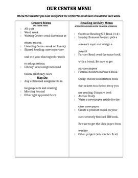 Center menu