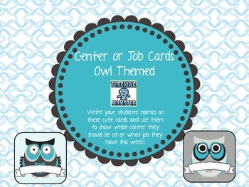 Center or Job Student Name Cards--{OWL themed}