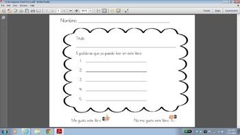Center response sheet for library Spanish