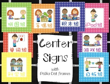 Center/Work Station Signs with Polka Dot Frames (Tradition