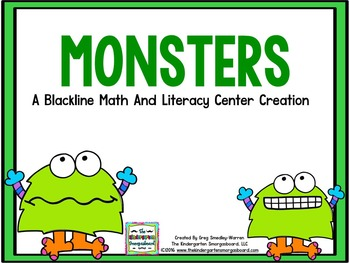 Centers!  Monsters Math And Literacy Centers Blackline!