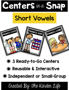 Centers in a Snap: 3 Easy Prep Short Vowel Literacy Readin