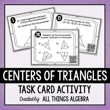 Centers of Triangles Task Cards (Includes Constructions)