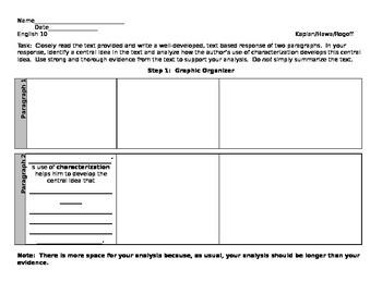 Central Idea Graphic Organizer - Characterization