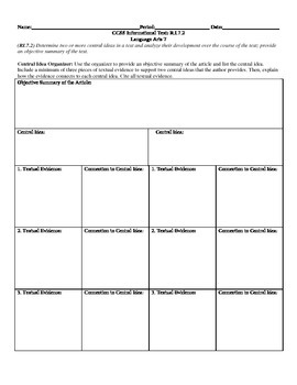 Central Idea Organizer CCSS RI.7.2