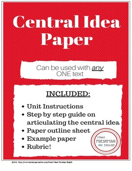 Central Idea Paper for ONE text- Freshman- TN Ready