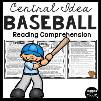 Central Idea Worksheet on Baseball, Middle School ELA Test