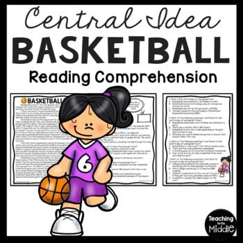 Central Idea Worksheet on Basketball, Middle School ELA Te