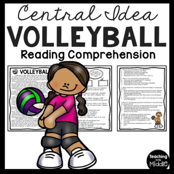 Central Idea Worksheet on Volleyball, Middle School ELA Te