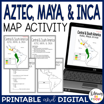 Aztec, Maya, & Inca Map Lesson and Assessment