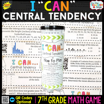 Central Tendency & Variability of Data Seventh Grade Math Game