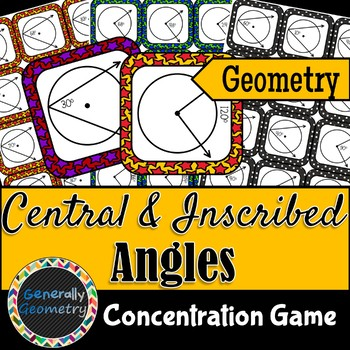 Central and Inscribed Angles Concentration Game; Geometry: