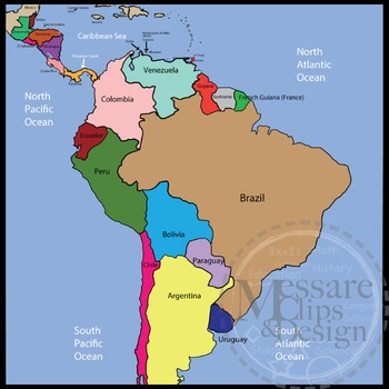 Map Clip Art: Central and South America Set {Messare Clips