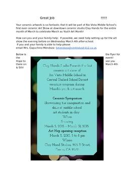 Ceramic Art Show Recognition Flyer