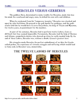 Cerberus, 12th Labor of Hercules with Sentence Starters and KEY