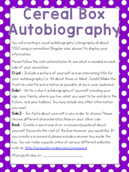 Cereal Box Autobiography Project