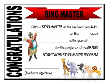 Certificate- Ring Master (ring/sight words)