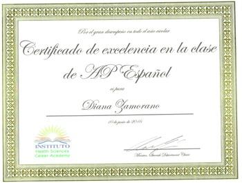Certificate for Spanish Class. Certificado de excelencia e