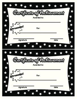Certificate of Achievement in Black White