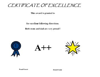 Certificate of Excellence for following directions for par