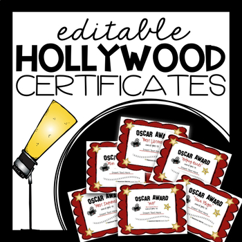 EDITABLE Certificates / Awards (Hollywood Themed)