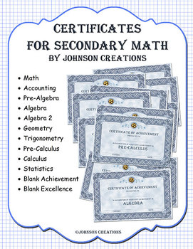 Certificates for Secondary Math