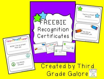 Certificates for Special Recognition