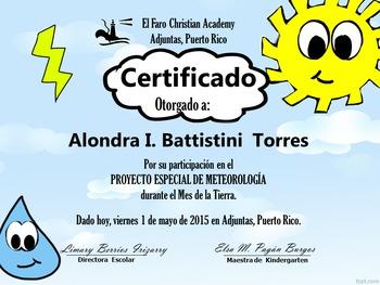 Certifificate for weather report- Certificado de meteorología