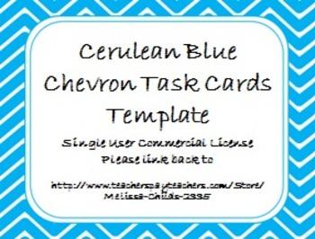 Cerulean Blue Chevron Task Card/Scoot Card Templates