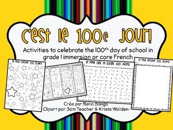 {C'est le 100e jour d'école!} Fun French activities for th