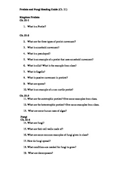 Ch. 21 Protista and Fungi Guided Reading Questions (Biolog