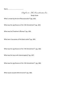 Ch 23 Study Guide - History Alive 8th Grade