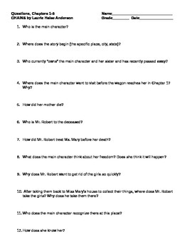 Chains Comprehension Questions Ch. 1-5