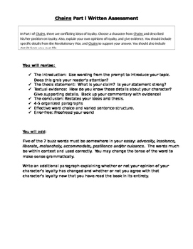Chains by Laurie Halse Anderson Part One Essay Prompt